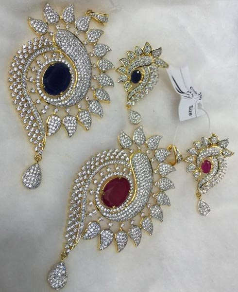 Products Buy American Diamond Pendant Set From P S