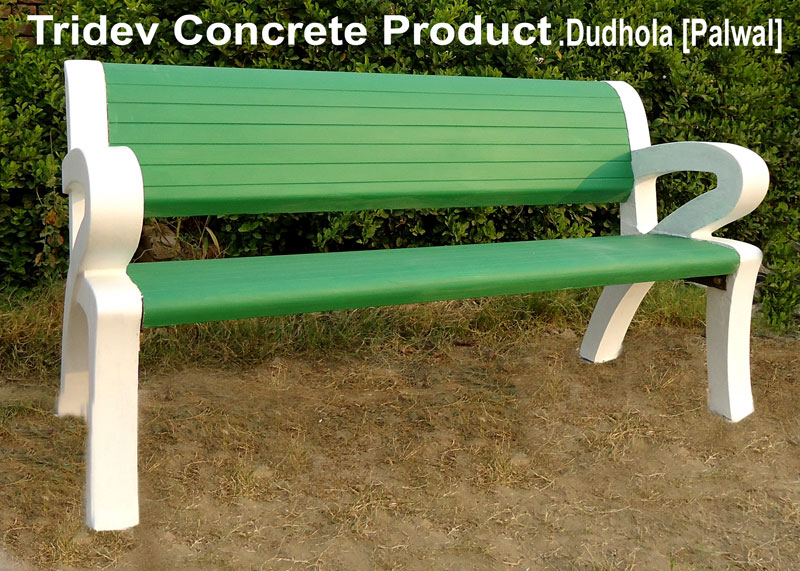 Buy Concrete Garden Bench with Hand Rest from Tridev Concrete