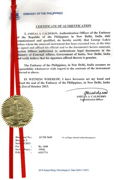 Services philippines embassy attestation services in for Consul authentication