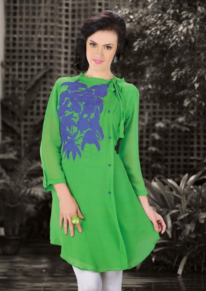 ... kurti. The patch work|resham work looks chic and fantastic for any