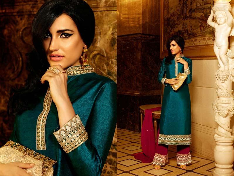Buy Pure Silk Designer Suit from Red Fashions, Surat, India | ID