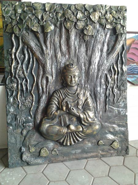 Products buddha emboss wall mural manufacturer for Buddha mural art