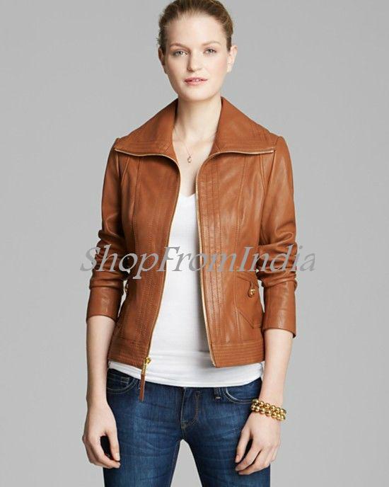 ... custom made women lamb brown leather jacket manufacturer ... - Women Leather Er Jacket