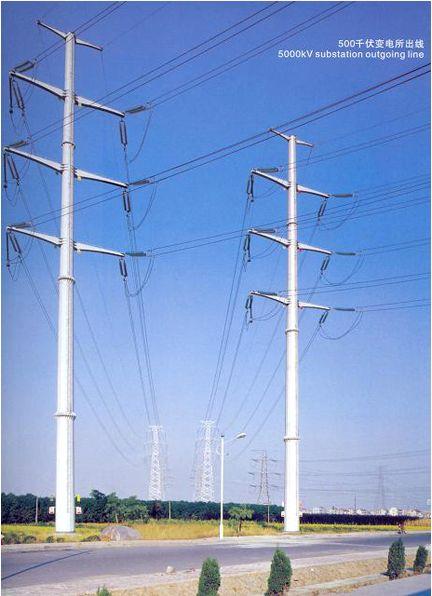 Electric Power Transmission Structures : Products kv tubular transmission tower manufacturer