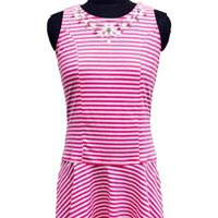 Striped Lycra Dress with Embellishment