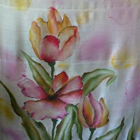 Hand Painting On Ladies Dress