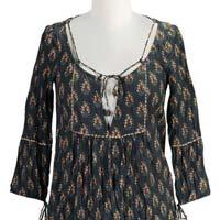 Lace Up Cotton Print Dress