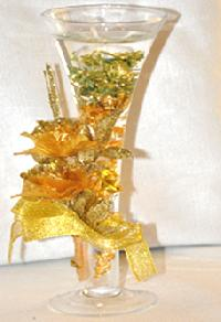 Inner Stained Glass Candle Holder With Golden Flower