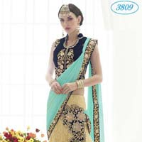 Divine Boutique Net Neavy Blue Stone Work Lehenga Saree