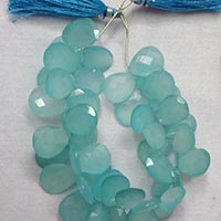 Aqua Chalcedony Faceted Pear