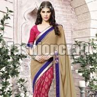 Printed Half n Half Saree with Heavy Lace Work