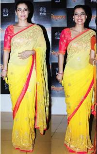 Kajol Georgette Zari Work Yellow Bollywood Style Saree