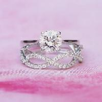 1.50ct Off White Yellow Moissanite Engagement Ring Set