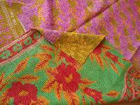 Twin Kantha Red Flower Print Quilt