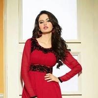 Fs1110 Georgette Embrodary Work Red Semi Stitched Anarkali..