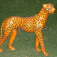 Handicraft Leather Cheetah Sculpture