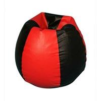 Black Red Round bean bag