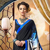 Black & Blue Printed Saree