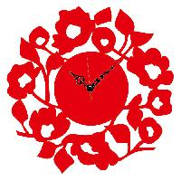 Elegant Red Flower Designer Wall Clock