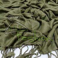 Womens Dark Green Viscose Shawls