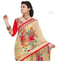 Cream Color Printed Lace Work Georgette Saree with Blause