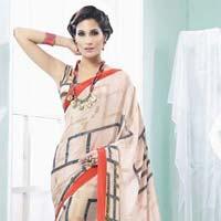 Radhika Fibers Cream Color Creape Silk Printed Saree with Blause