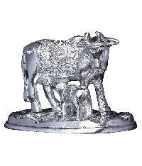 Aluminium Kamdhenu Cow And Calf Showpiece 4 Inch  Hp-al-514