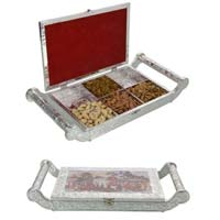 White Metal Dry Fruit Tray With 6 Partition 16x8 inch  HP-WM-515