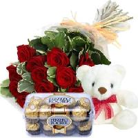 12 Red Rose Bouquet With Teddy & Ferero Rocher