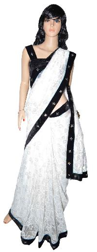 Net Saree With Black Velvet And Sequins Border