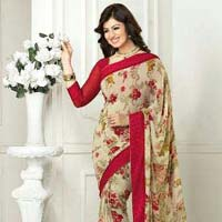 cream color WEIGHTLESS PRINT saree
