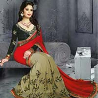 Latest Red color georgette  embrodairy work saree