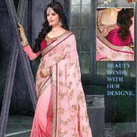 Light pink color georgette  embrodairy work saree