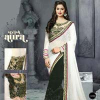 New white  black color georgette  embrodairy work saree