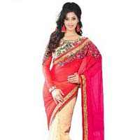 Red Color Chiffon  Embrodairy Petch Work Saree
