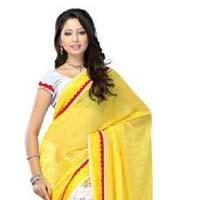 Yellow color Chiffon  Marble Print saree