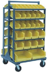 Plastic Bin Sloped Shelf Truck And Stand