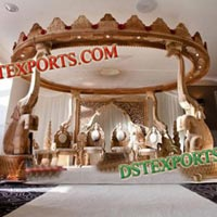 Indian Wedding Wooden Elephant Mandap Set