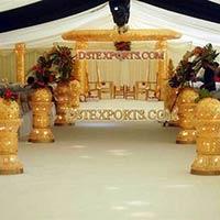 Wedding Gold Crystal Mandap with Aisle Pillars