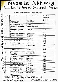 Medicinal Plants Price List