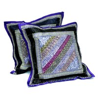 2 Dark Blue Embroidery Indian Sequin Sari Vintage Throw Pillow  Cushion Covers
