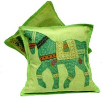2 Green Handcrafted Applique Patchwork Ethnic Indian Horse Throws Pillow Krishna Mart Cushion Covers