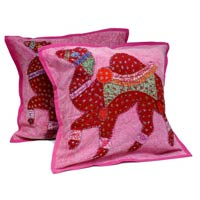 2 Pink Red Handcrafted Applique Patchwork Ethnic Indian Camel Throws Pillow Cushion Covers