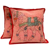2 Red Handcrafted Applique Patchwork Ethnic Indian Horse Throws Pillow Krishna Mart Cushion Covers