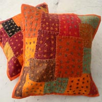 5 Orange Applique Handcrafted Cushion Covers