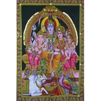 God of Wisdom, Wealth Ganesh, Ganesha, Shiva Family Tapestry