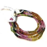Natural Watermelon Tourmaline Faceted 3-4mm Beads String Strand