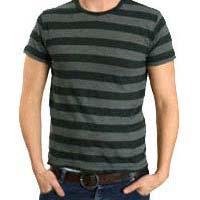 Mens Round Neck Striped T Shirts