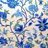 Blue Patel Crewel Curtain Fabric