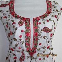 Cotton Kurti Piece with Silk Kashmiri Net (jal) Work